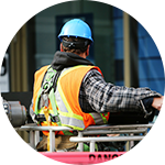 Obrero con chaleco. Derecho laboral